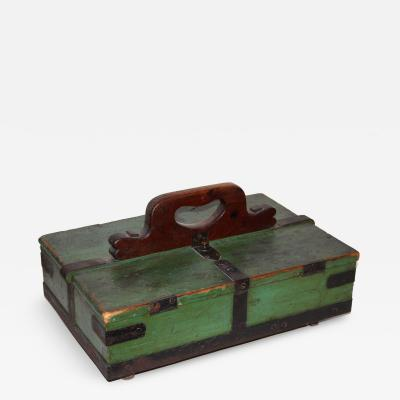 Green Painted and Iron Strapped Double Lidded Box