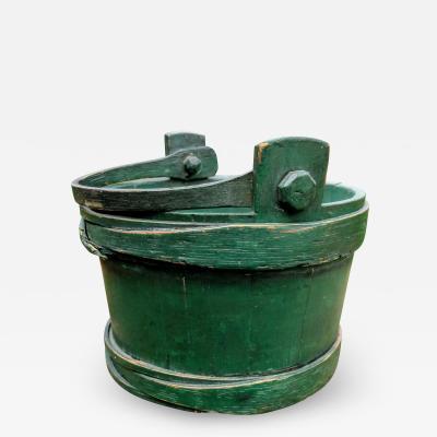 Green Shaker wood handle firkin bucket