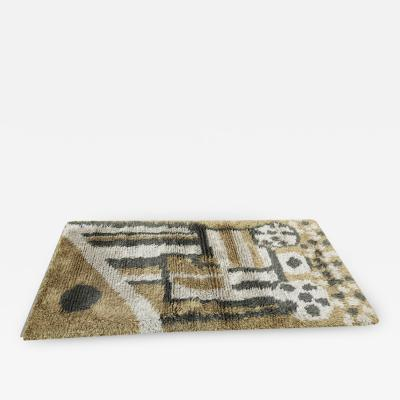 Green Toned Swedish Rya Rug 3 2 5 8