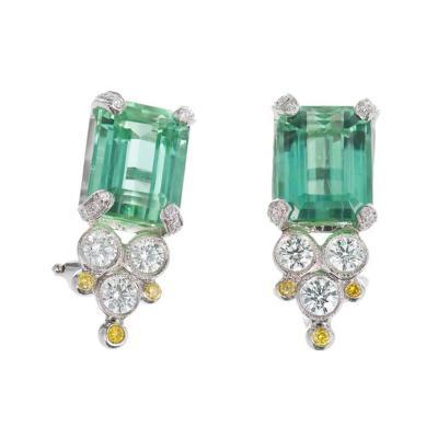 Green Tourmaline White Yellow Diamond Platinum Earrings