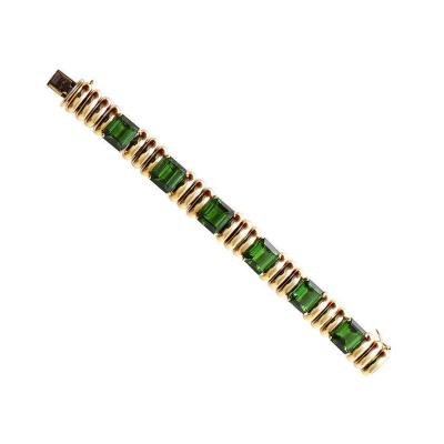 Green Tourmaline and Gold Bracelet