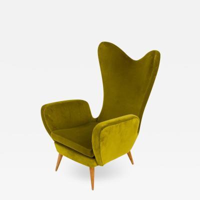 Green Velvet Mid Century Lounge Chair Italy 1950s