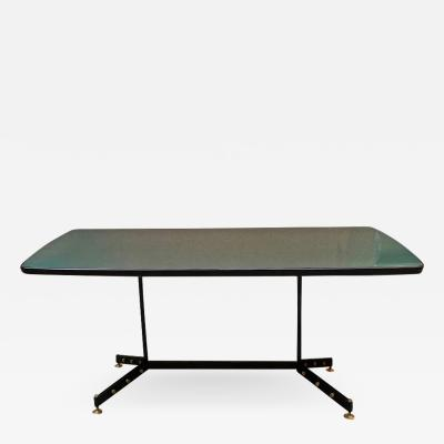 Green dining table with metal leg 1960s