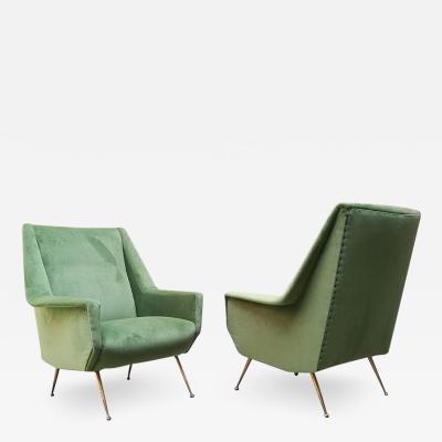 Green velvet armchair 1950s