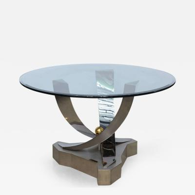 Greg Sheres Greg Sheres Polished Stainless Steel and 24 Karat Gold Plated Brass Center Table