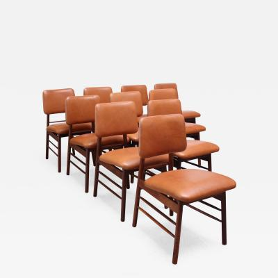 Greta Magnussen Grossman Set of Ten Walnut and Leather Dining Chairs by Greta Grossman