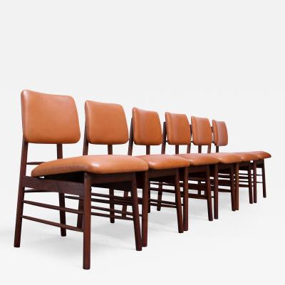 Greta Magnusson Grossman Set of Six Walnut and Leather Dining Chairs by Greta Grossman