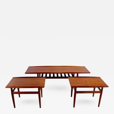 Grete Jalk Danish Modern Solid Teak Three Piece Table Set Designed by Grete Jalk