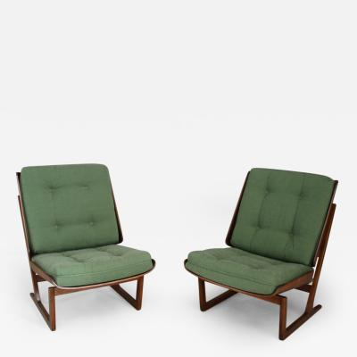 Grete Jalk Grete Jalk attributed Pair of Midcentury armchairs Green in mahogany from 1950