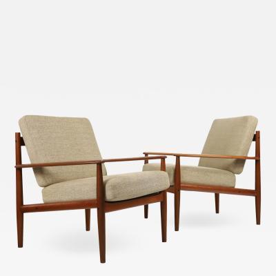 Grete Jalk Pair of Scandinavian Modern Teak Lounge Chairs Designed by Grete Jalk