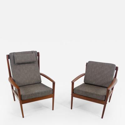 Grete Jalk Rare Pair of Scandinavian Modern Mama Papa Chairs by Grete Jalk