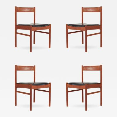 Grete Jalk Set of Four Grete Jalk Style Teak Danish Modern Chairs circa 1960