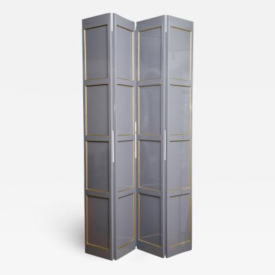 Grey Lacquered Four Panel Screen