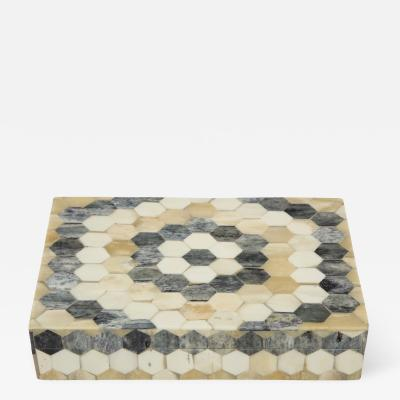 Grey Natural Tan Bone Mosaic Pattern Box