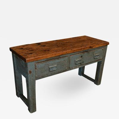 Grey Painted Workshop Table Bench