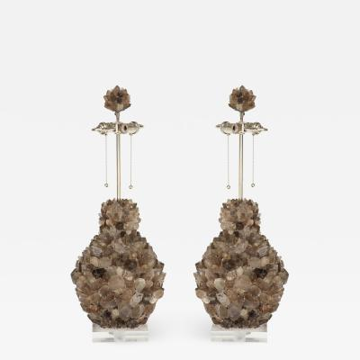 Grey Quartz Cluster Lamps