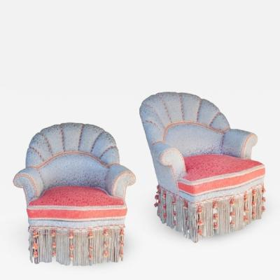 Grey Silk Slipper Chairs