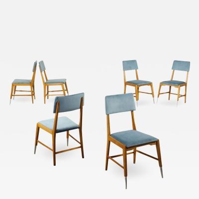 Group Of Six Chairs Sessile Oak Foam Velvet Aluminium Italy 1950s