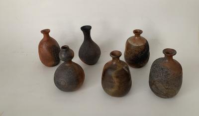 Group of six Contemporary Japanese Sake Bottles tokkuri