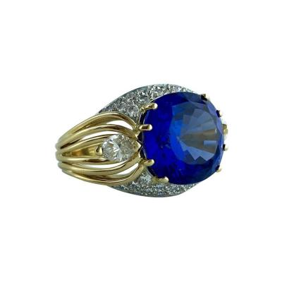 Gubelin 8 03 Carat Tanzanite Diamond Gold Ring