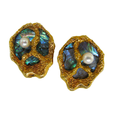 Gubelin Abalone Pearl Gold Shell Ear Clips