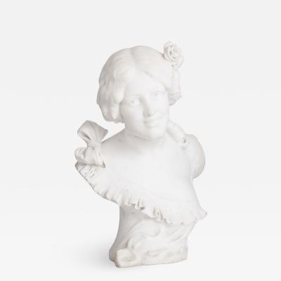 Guglielmo Pugi Italian Art Nouveau style sculpted marble bust by Pugi