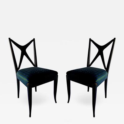 Guglielmo Ulrich A Pair of Italian Modern Black Lacquer X Back Chairs Guglielmo Ulrich