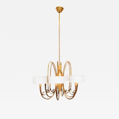 Guglielmo Ulrich Exquisite Brass Multi Tone Sculpted Chandelier with Opaline Glass 1950 Italy