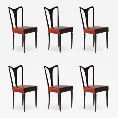 Guglielmo Ulrich Guglielmo Ulrich Six Dining Chairs Fully restored Luxury Red Eel leather 40s