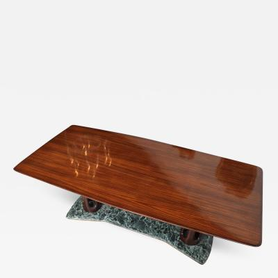 Guglielmo Ulrich Italian Modern Rosewood and Serpentine Marble Dining Table