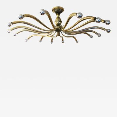 Guglielmo Ulrich Large Brass Chandelier Attributed to Guglielmo Ulrich