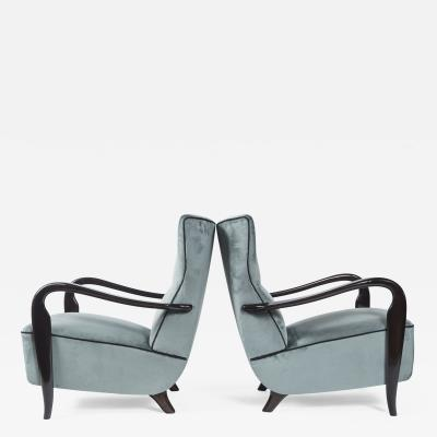 Guglielmo Ulrich Large Pair Of Italian Mid Century Velvet Lounge Chairs by Guglielmo Ulrich