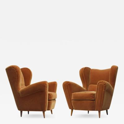Guglielmo Ulrich Large Sculptural Italian Wing Chairs in Mohair