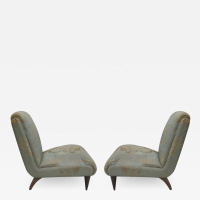 Guglielmo Ulrich Pair Italian Mid Century Modern Lounge Slipper Chairs Guglielmo Ulrich 1930