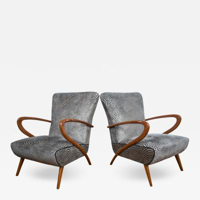 Guglielmo Ulrich Pair of Italian Mid Century Lounge Chairs by Ulrich