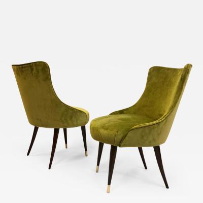 Guglielmo Ulrich Pair of Italian Mid Century Modern Lounge Slipper Chairs by Guglielmo Ulrich