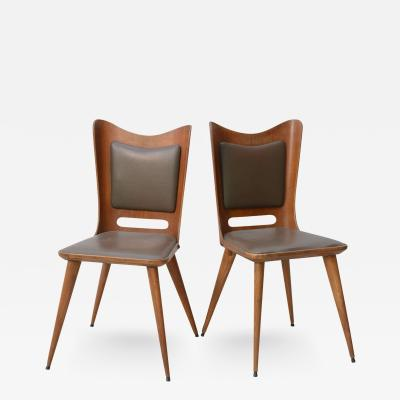Guglielmo Ulrich Pair of Italian Modern Walnut Side Chairs Guglielmo Ulrich