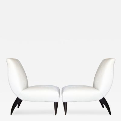 Guglielmo Ulrich Pair of Italian Slipper Chairs Attributed to Guglielmo Ulrich