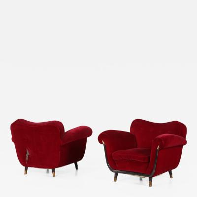 Guglielmo Ulrich Pair of MidCentury Italian armchairs attributed to Guglielmo Ulrich from 1950s