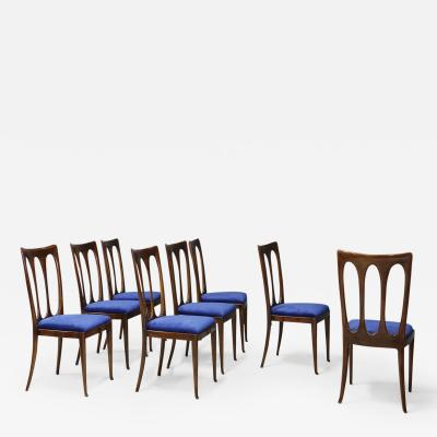Guglielmo Ulrich Set of eight MidCentury chairs by Gugliemo Ulrich restored in blue velvet 1950s