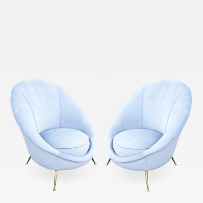 Guglielmo Veronesi Pair of Rounded Lounge Chairs by Veronesi for ISA Italy 1960s