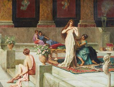Guglielmo Zocchi Harem Scene Orientalist Oil Painting