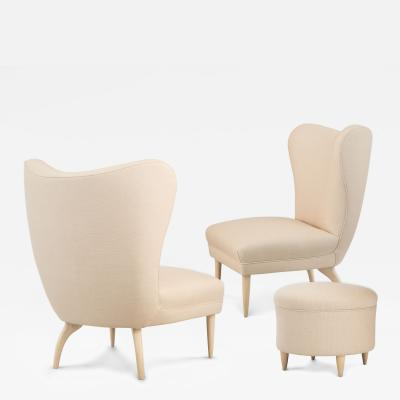 Gugliemo Ulrich Guglielmo Ulrich Attributed Pair of Glazed Wood Slipper Chairs and Stool