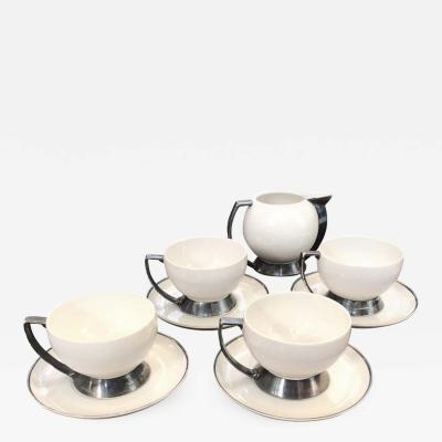 Guido Andlovitz Set of Four Art Deco Italian Thea Cup and Milk Jug by Guido Andlovitz for Laveno