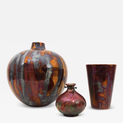 Guido Andloviz Rare Set of 3 Metallic Luster Vases 1930s