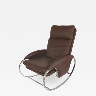 Guido Faleschini 1970s Guido Faleschini Chrome Rocking Chair