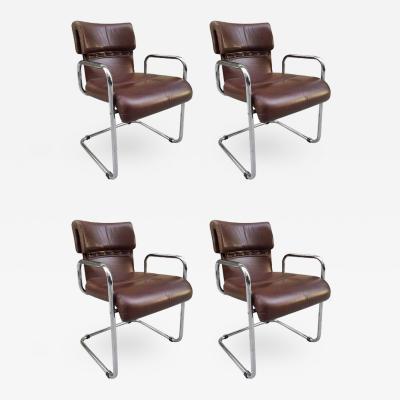 Guido Faleschini Four Leather Chairs by Guido Faleschini for Mariani