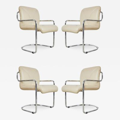 Guido Faleschini Guido Faleschini Italian Leather Dining Chairs by Mariani for Pace Set of Four