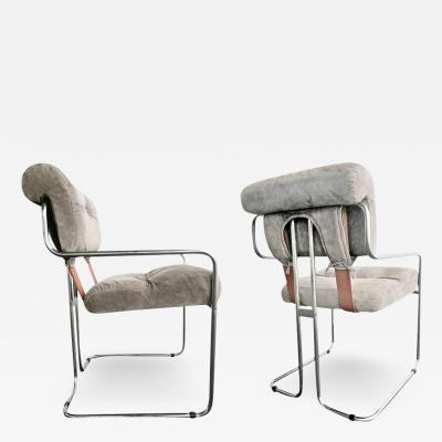 Guido Faleschini Guido Faleschini Italian Leather Tucroma Chairs by Mariani for Pace Set of Two