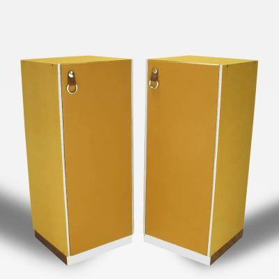 Guido Faleschini Pair of Guido Faleschini by i4 Mariani for Pace Leather and Chrome Tall Chests